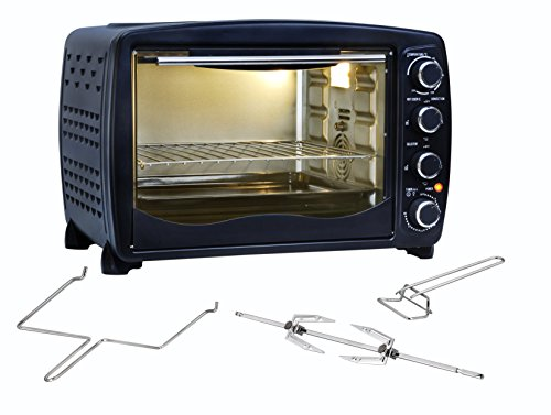 Team Kalorik Mini Oven with Baking Tray, Wire Rack and Rotating Skewer (100-250°C), 40 L Interior Capacity, 1500 W…